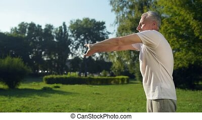 sportif, parc, matin, homme, exercices, eldelry, apprécier, beau