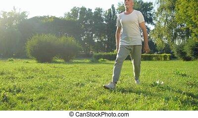 sportif, poumons, parc, exercices, vieilli, homme