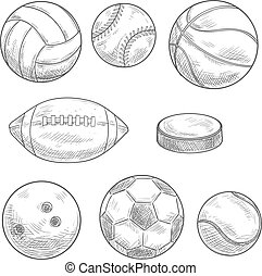 Sporting balls and hockey puck isolated sketches