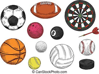 Sporting balls, dartboard and hockey puck sketches