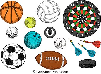 Sporting balls, hockey puck, dart board sketches