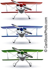 set of vectorial image of sporting biplanes. File contains blends and gradients (green variant contains strokes).