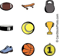 Sporting equipment icons set, cartoon style