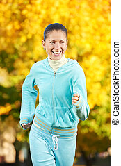 Sporting exercise. Jogging woman