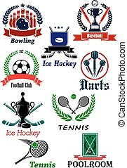 Sporting icons, emblems and symbols with darts, bowling, ice hockey, baseball, football, soccer, tennis, and poolroom elements