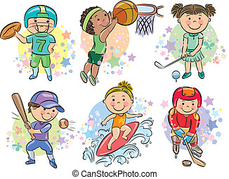 Sporting kids. Contains transparent objects. EPS10