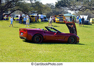 Sporting old vintage red car exhibition -TW Park -Hollywood -Florida Feb 2014 Editorial.