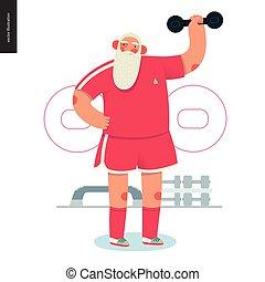 Sporting Santa - dumbbell lifting - modern flat vector...