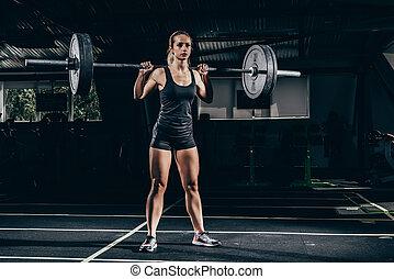 sportiva, sollevamento, barbell
