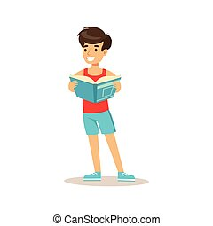 Sportive Boy Who Loves To Read, Illustration With Kid Enjoying Reading An Open Book
