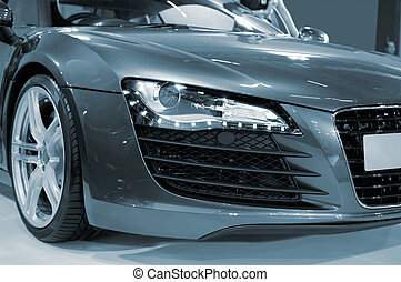 Sportive car - The close up view of head of sportive car in ...