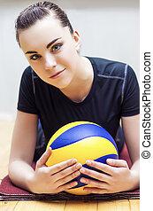 Sportive Caucasian Volleyball Girl