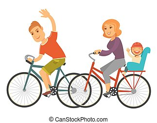 Sportive family rides bicycles with baby isolated illustration