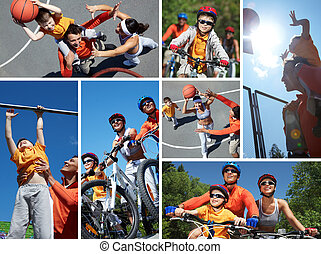 Sportive family - Collage of happy family on bicycles and...