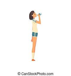 Sportive Girl Drinking Fresh Clean Water from Plastic Bottle Vector Illustration