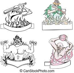 Sportive mascot templates