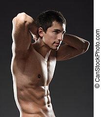 sportive, nøgne, mand, side udsigt