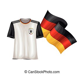 Sportive Sweatshirt and Waving Flag of Germany Vector Illustration