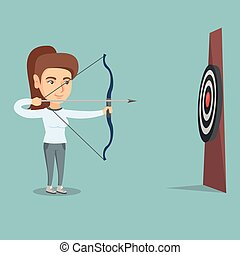 sportive, viser, à, a, arc flèche, à, target.