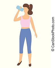 Sportive Woman Drinking Water from Bottle Isolated