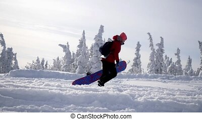 Sportive young woman carrying heavy snowboard to mountain...