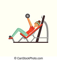 Sportive young woman character exercising with barbell on a bench press, girl working out in the fitness club or gym colorful vector Illustration