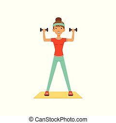 Sportive young woman character exercising with dumbbells, girl working out in the fitness club or gym colorful vector Illustration