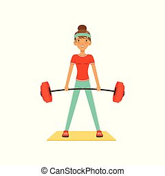 Sportive young woman character lifting barbell, girl working out in the fitness club or gym colorful vector Illustration