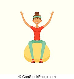 Sportive young woman character training with fitball, girl working out in the fitness club or gym colorful vector Illustration