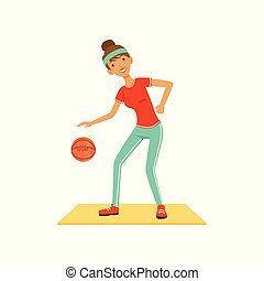 Sportive young woman character woman playing basketball, girl working out in the fitness club or gym colorful vector Illustration