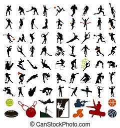 sportivi, illustrazione, colour., silhouette, vettore, nero