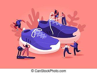 sportivi, persone, fuori, il portare, scarpe, sport, palestra, concept., scarpe tennis, addestramento, sportswomen