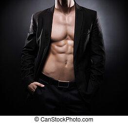 sportivo, adattare, sopra, sfondo nero, uomo, forte, ...