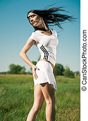 sportivo, ragazza, fuori