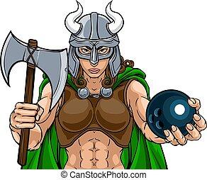 sportkegeln, kriegerin, gladiator, frau, wickinger