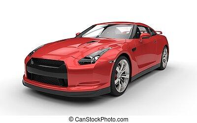 sportkocsi, piros