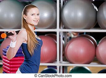 sportlerin, arbeiten, heraus, mit, gymnastisch, stock