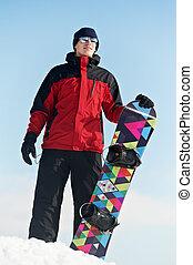 sportlerin, snowboard, glücklich