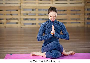 sportliche , junge frau, machen, joga, üben, auf, rosa, joga...