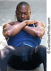 sportliche , mann, magen, knirschen, übung