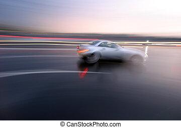 sportliche , schnell, verschleierte bewegung, bewegen, auto