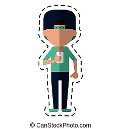 sportman character using smartphone dot line
