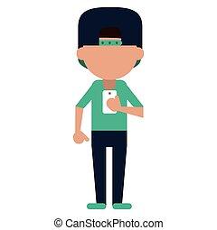 sportman character using smartphone