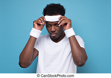 sportman, joven, ser, africano, exercise., cansado, después