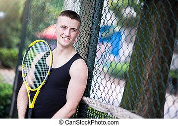 sportman, tenis, juego
