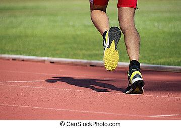 sportowy, ślad, wyścigi, człowiek