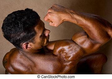 sportowy, biceps, silny człowiek, widać