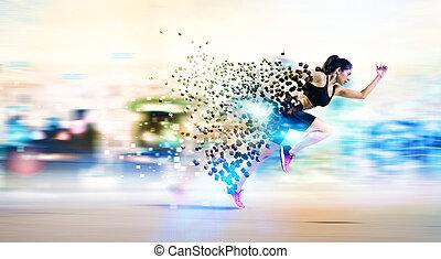 sportowy, biegacz, kobieta, mocny