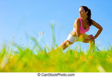 sportowy, kobieta, wykonując