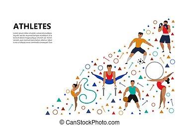 sportowy, ludzie., komplet
